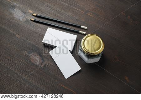 Blank Business Cards, Pencils And Jar On Wooden Background. Id Mockup. Responsive Design Template.
