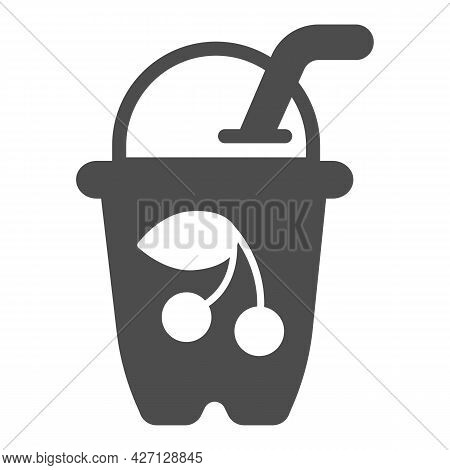 Glass With Cherry Yogurt Solid Icon, Icecream Concept, Cherry Cocktail Vector Sign On White Backgrou