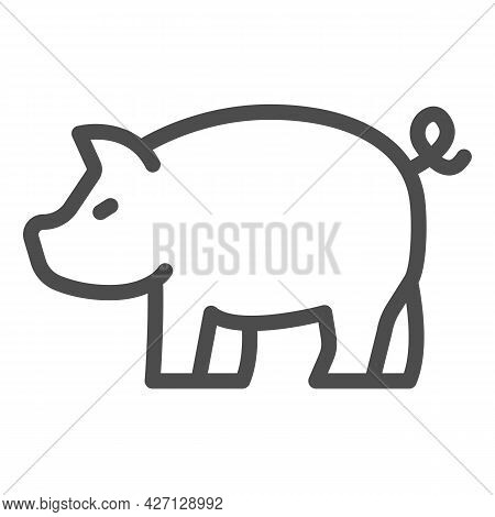 Pig Line Icon, Worldwildlife Concept, Swine Vector Sign On White Background, Pig Outline Style For M