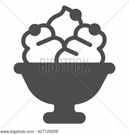 Glass Vase With Fruit Icecream Solid Icon, Icecream Concept, Glass Vase Vector Sign On White Backgro