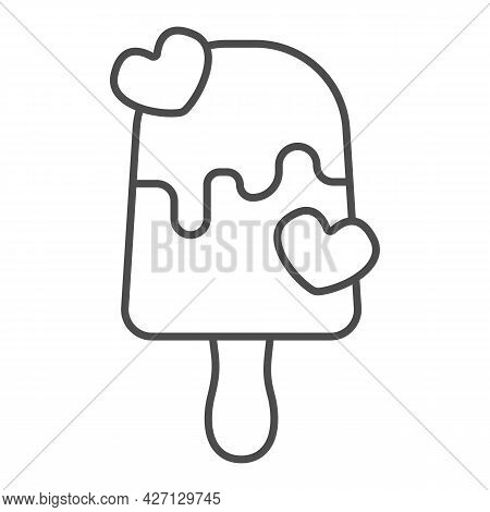 Milk Chocolate Ice Cream Thin Line Icon, Icecream Concept, Milky Choco Vector Sign On White Backgrou