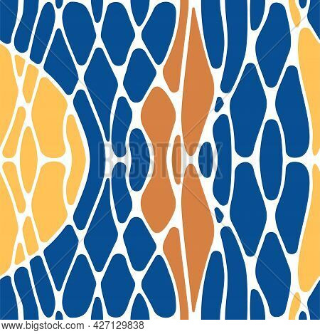 Seamless Pattern With Twisted Lines And Colored Shapes. Neuro Art Mosaic Background With Wavy Stripe