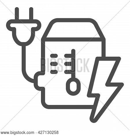 Power Supply Unit Line Icon, Pcrepair Concept, Mains Plug And Lightning Vector Sign On White Backgro