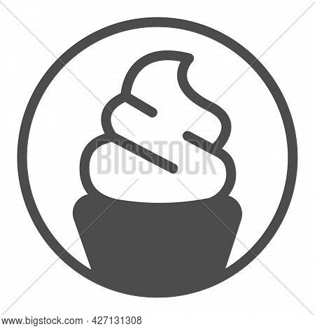 Ice Cream Sundae In Waffle Cup Solid Icon, Icecream Concept, Waffle Cup Vector Sign On White Backgro