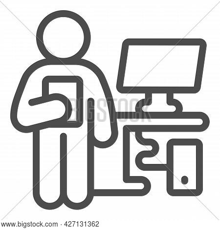Service Center Manager Line Icon, Pcrepair Concept, Service Manager Vector Sign On White Background,