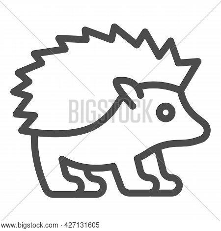 Hedgehog Line Icon, Worldwildlife Concept, Hedgehog Vector Sign On White Background, Hedgehog Outlin