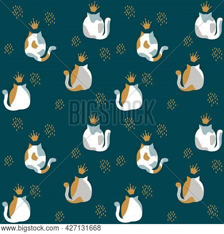 Pattern With Illustration Of The Backs Of Spotted Cats And Lush Tails