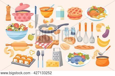 Cooking Set. Household Kitchen Food Preparation Items Concept. Object Collection With Kitchenware, D