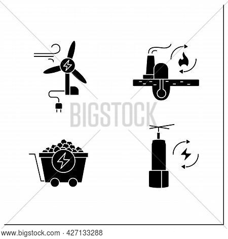 Energy Glyph Icons Set. Wind, Coal Energy, Renewable Fossil Fuels. Storage. Power Stations. Electric