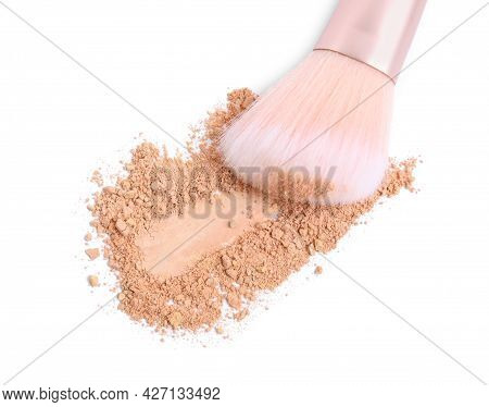 Loose Face Powder And Makeup Brush On White Background, Top View