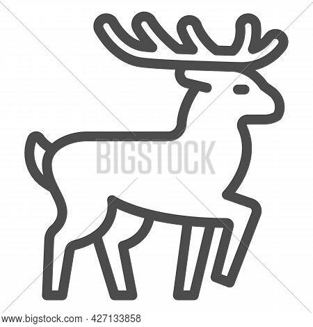 Deer Line Icon, Worldwildlife Concept, Deer Vector Sign On White Background, Horned Forest Deer Outl