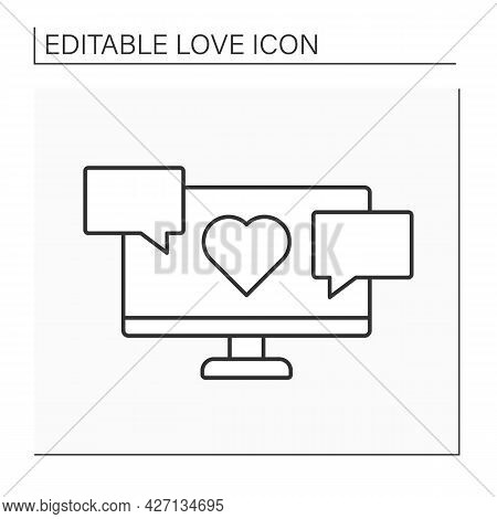 Conversation Line Icon. Virtual Dialogue With Beloved Person. Romantic Message. Virtual Date. Love C
