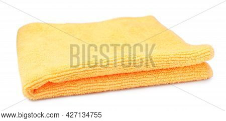Clean Orange Microfiber Cloth Isolated On White