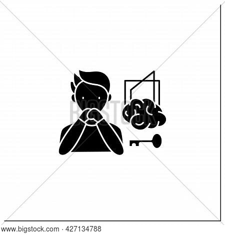 Control Delusions Glyph Icon.obsessive Thoughts About Controlling Actions By Strangers.unable To Rec