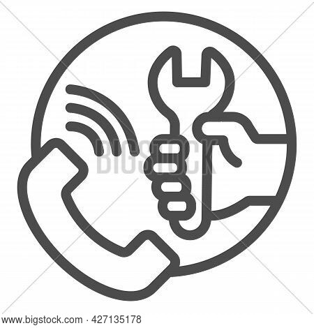 Call Repair Service Line Icon, Pcrepair Concept, Call Center Vector Sign On White Background, Teleph