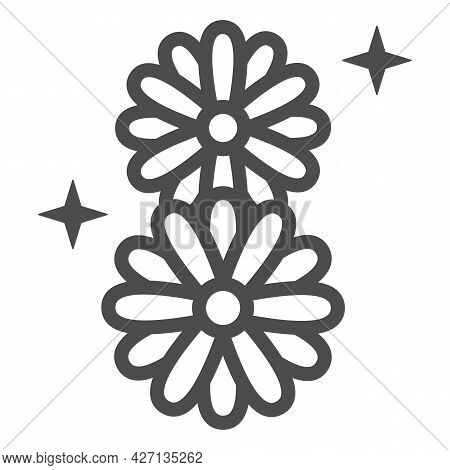 Daisies In Eight Shape Line Icon, 8 March Concept, Chamomile Flowers Sign On White Background, March