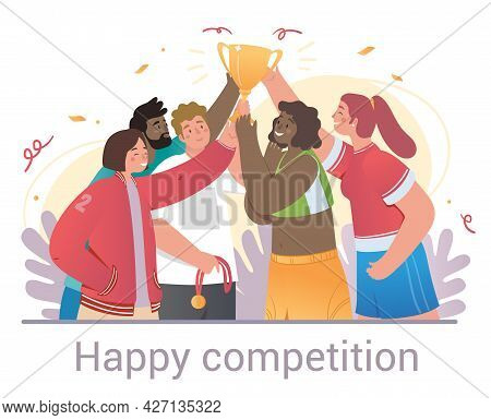 Happy Competition Scene With Winners And Trophies Celebrating With Diverse Multiracial Friends Or Te