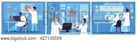 Group Of Diverse Scientists Work In Laboratory. Professional Genetic Research Lab, Virus And Blood R