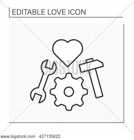 Relationship Line Icon. Work On Healthy Relationships. Tools. Avoiding Conflicts And Improving Roman