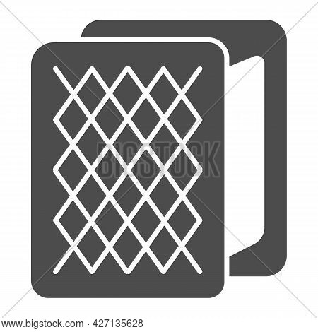 Waffle Briquette Sundae Ice Cream Solid Icon, Ice Cream Concept, Waffle Sandwich Vector Sign On Whit