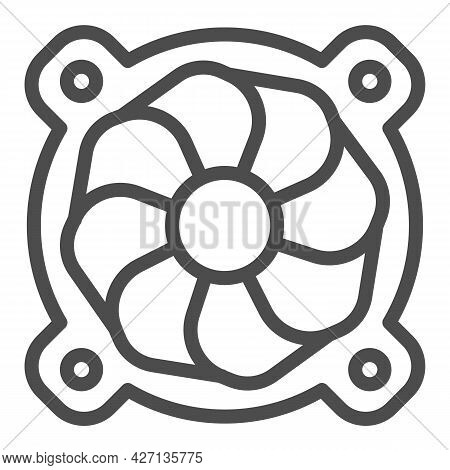 Cooler, Fan Line Icon, Pcrepair Concept, Cooler, Fan Vector Sign On White Background, Cooler, Fan Ou