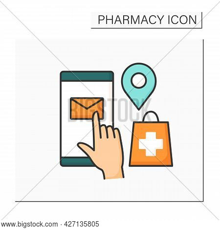 Mail Order Color Icon. Ordering Medication By Post. Drug Delivery. Online Shopping. Pharmacy Concept