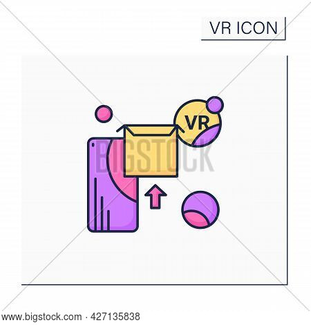 Vr Apps Color Icon. Applications Help Immersive In 3d World, That Digitally Simulates Virtual Enviro