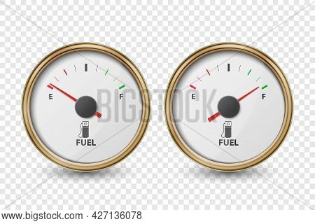 Vector 3d Realistic Golden Circle Gas Fuel Gauge, Oil Level Bar Icon Set Isolated On Transparent Bac