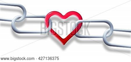 Steel Chain Is Linked Together By A Red Heart Shaped Link In This 3-d Illustration About Unbreakable