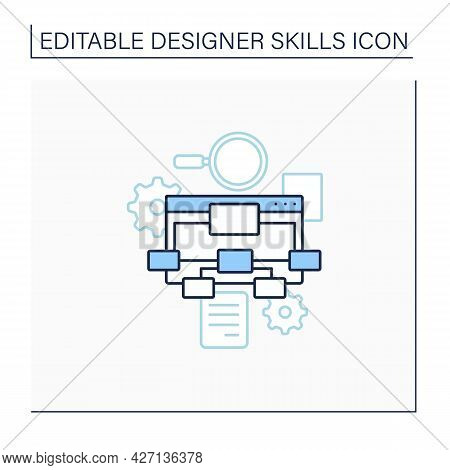 Information Architecture Line Icon. Organizing, Structuring Website Content. Labelling Websites, Int