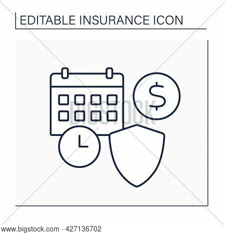 Premium Line Icon. Premium Paid Periodically Amount. Payment To Insurer By Insured For Covering Risk