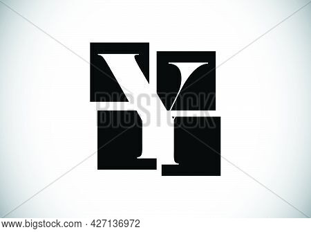 Initial Y Monogram Letter Alphabet Made Of Four Squares. Font Emblem. Broken, Puzzle Alphabet Sign.