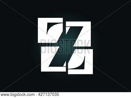 Initial Z Monogram Letter Alphabet Made Of Four Squares. Font Emblem. Broken, Puzzle Alphabet Sign.