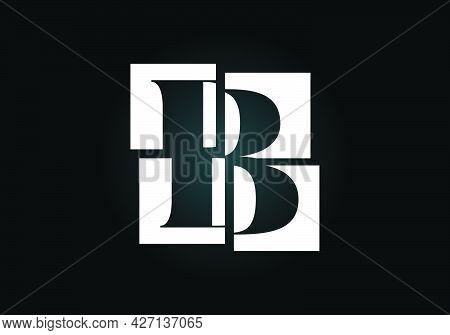 Initial B Monogram Letter Alphabet Made Of Four Squares. Font Emblem. Broken, Puzzle Alphabet Sign.