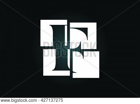 Initial F Monogram Letter Alphabet Made Of Four Squares. Font Emblem. Broken, Puzzle Alphabet Sign.