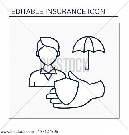 Policyholder Line Icon. Person With Insurance Policy. Protection In All Spheres. Insurance Concept.