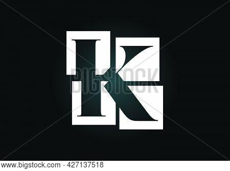 Initial K Monogram Letter Alphabet Made Of Four Squares. Font Emblem. Broken, Puzzle Alphabet Sign.
