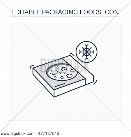 Frozen Pizza Line Icon. Tasty Food In Carton Box. Protection, Tampering Resistance From Bacteria. Pa
