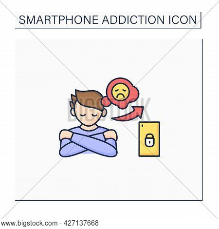 Smartphone Addiction Color Icon. Increasing Loneliness, Depression. Mental Health. Anxiety. Overwhel