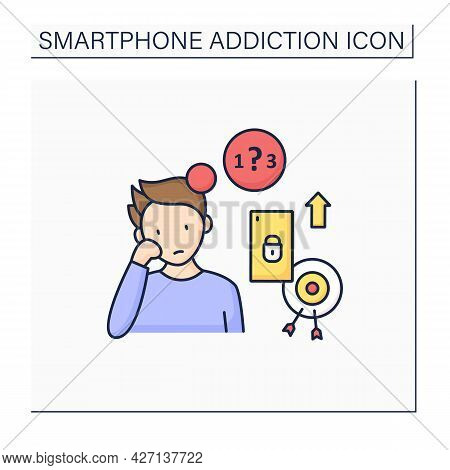 Smartphone Addiction Color Icon. Exacerbating Attention Deficit Disorders. Inability To Focus. Uncon