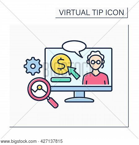 Science Color Icon. Donations In Science And Analysis. Digital Tips For Research And Development In