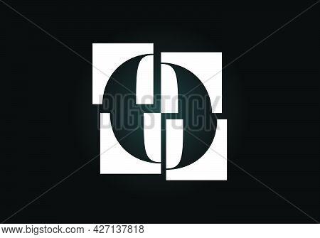 Initial O Monogram Letter Alphabet Made Of Four Squares. Font Emblem. Broken, Puzzle Alphabet Sign.