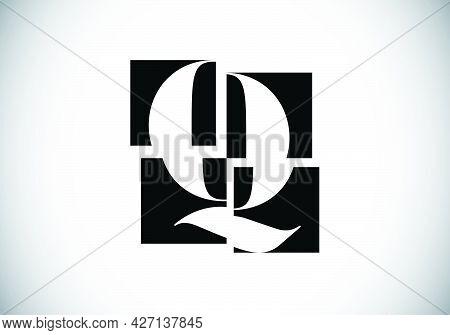 Initial Q Monogram Letter Alphabet Made Of Four Squares. Font Emblem. Broken, Puzzle Alphabet Sign.