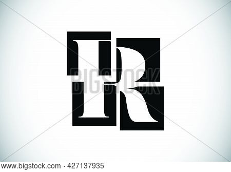 Initial R Monogram Letter Alphabet Made Of Four Squares. Font Emblem. Broken, Puzzle Alphabet Sign.