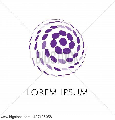 Abstract Vector Spherical Circular Shape Logo Of Elipses Like A Comet Or Soccer Ball With Random Tra