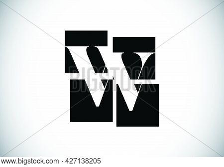Initial W Monogram Letter Alphabet Made Of Four Squares. Font Emblem. Broken, Puzzle Alphabet Sign.
