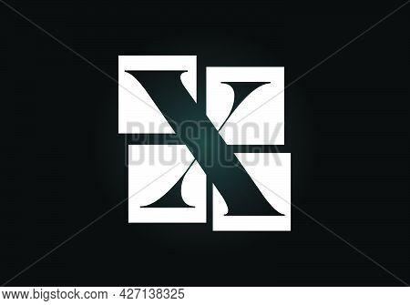 Initial X Monogram Letter Alphabet Made Of Four Squares. Font Emblem. Broken, Puzzle Alphabet Sign.