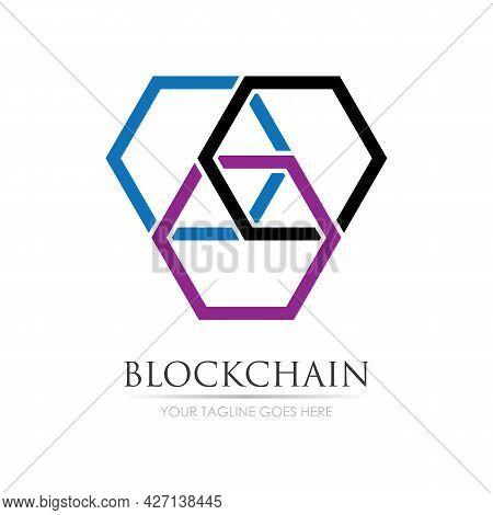 Block Chain Logo Technology Icon. Digital Vector Modern Symbol. Company Logo Design Inspiration.