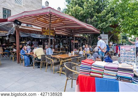 Fatih, Istanbul, Turkey - 07.05.2021: One Of The Famous Haricot Dried Bean Food Restaurant Near Sule