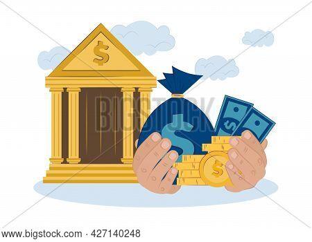 Concept Bank Gives Money On Credit. Vector Flat Illustration Of Financing, Lending, Distribution Of